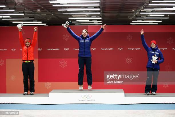 Silver medalist Jacqueline Loelling of Germany gold medalist Lizzy Yarnold of Great Britain and bronze medalist Laura Deas of Great Britain celebrate...