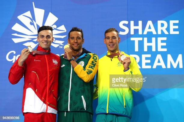 Silver medalist James Guy of England, gold medalist Chad le Clos of South Africa and bronze medalist Grant Irvine of Australia pose during the medal...