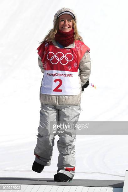 Silver medalist Jamie Anderson of the United States celebrates during the victory ceremony after the Snowboard Ladies' Big Air Final on day 13 of the...