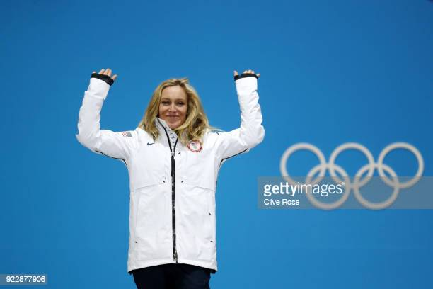 Silver medalist Jamie Anderson of the United States celebrates during the medal ceremony for Snowboard Ladies' Big Air on day 13 of the PyeongChang...