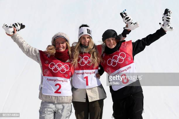 Silver medalist Jamie Anderson of the United States gold medalist Anna Gasser of Austria and bronze medalist Zoi Sadowski Synnott of New Zealand...