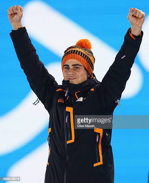 Silver medalist Jan Smeekens of the Netherlands celebrates during the medal ceremony for the Men's 500m Speed Skating on day 4 of the Sochi 2014...