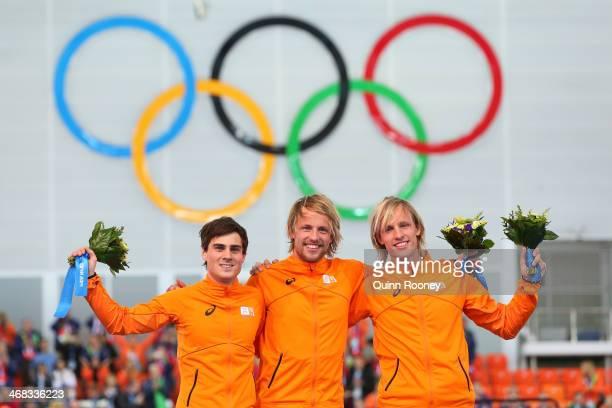 Silver medalist Jan Smeekens of the Netherlands gold medallist Michel Mulder of the Netherlands and bronze medalist Ronald Mulder of the Netherlands...