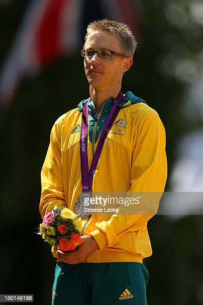 Silver medalist Jared Tallent of Australia stands on the podium during the medal ceremony for the Men's 50km Walk on Day 15 of the London 2012...