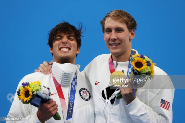 Silver medalist Jay Litherland of Team United States and gold medalist Chase Kalisz of Team United States pose on the podium after competing in the...