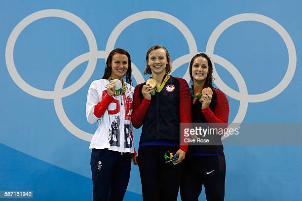 Silver medalist Jazz Carlin of Great Britain gold medalist Katie Ledecky of the United States and bronze medalist Leah Smith of the United States...