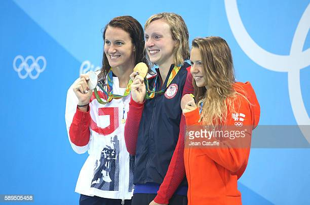 Silver medalist Jazz Carlin of Great Britain gold medalist Katie Ledecky of USA and bronze medalist Boglarka Kapas of Hungary pose during the medal...