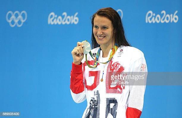 Silver medalist Jazz Carlin of Great Britain poses during the medal ceremony for the Women's 800m Freestyle final on day 7 of the Rio 2016 Olympic...