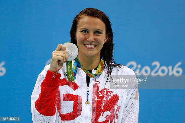 Silver medalist Jazz Carlin of Great Britain poses on the podium during the medal ceremony for the Women's 400m Freestyle Final on Day 2 of the Rio...