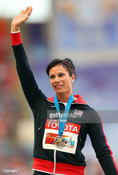Silver medalist Jennifer Suhr of the United States on the podium during the medal ceremony for the Women's Pole Vault during Day Six of the 14th IAAF...