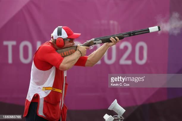 Silver Medalist Jesper Hansen of Team Denmark during the Skeet Men's Finals on day three of the Tokyo 2020 Olympic Games at Asaka Shooting Range on...