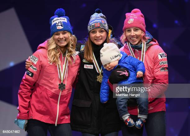 Silver medalist Jessica Diggins of the United States, gold medalist Maiken Caspersen Falla of Norway and bronze medalist Kikkan Randall of the United...