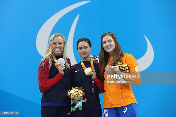 Silver medalist Jessica Long of the United States Elizabeth Marks of the United States and Lisa den Braber of the Netherlands pose on the podium at...