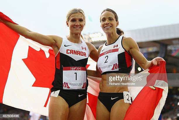 Silver medalist Jessica Zelinka of Canada and gold medalist Brianne Theisen-Eaton of Canada celebrate after the Women's Heptathlon 800 metres at...