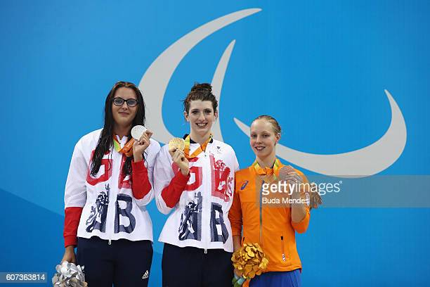 Silver medalist JessicaJane Applegate of Great Britain Gold medalist Bethany Firth of Great Britain and Bronze medalist Marlou van der Kulk of the...
