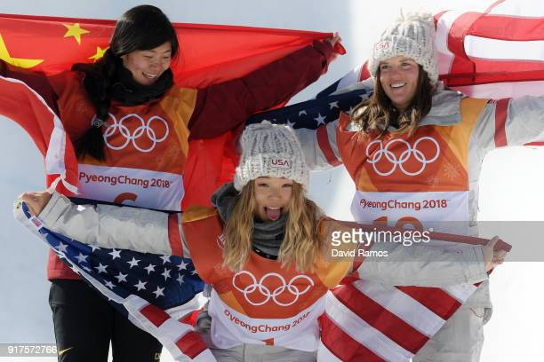 Silver medalist Jiayu Liu of China gold medalist Chloe Kim of the United States and bronze medalist Arielle Gold of the United States pose during the...