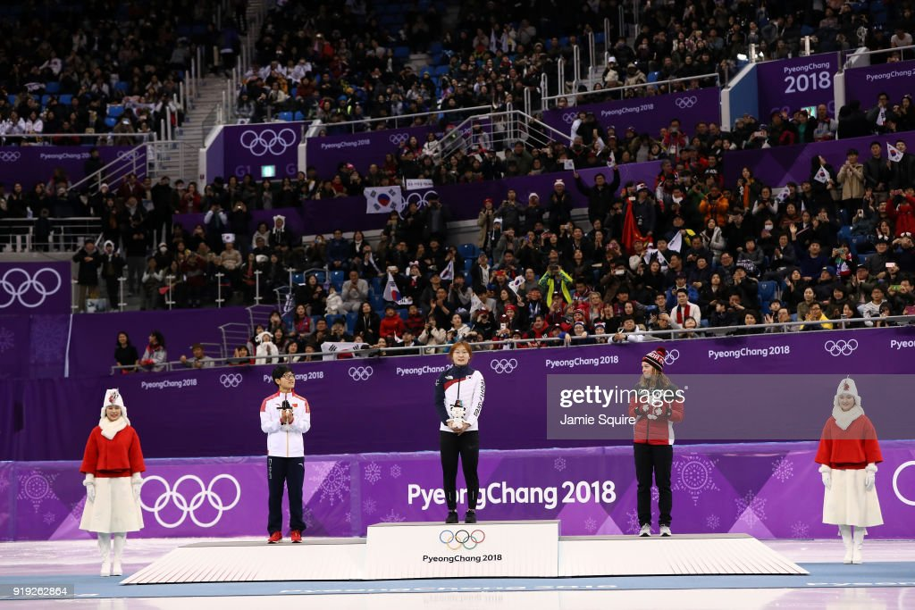 Silver medalist Jinyu Li of China, gold medalist Minjeong Choi of Korea and bronze medalist Kim Boutin of Canada celebrate during the victory ceremony after the Short Track Speed Skating Ladies' 1500m Final A on day eight of the PyeongChang 2018 Winter Olympic Games at Gangneung Ice Arena on February 17, 2018 in Gangneung, South Korea.