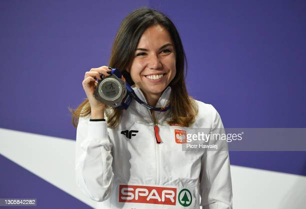 Silver medalist Joanna Jozwik of Poland poses for a photo during the medal ceremony for Women's 800 metres run during the second session on Day 3 of...