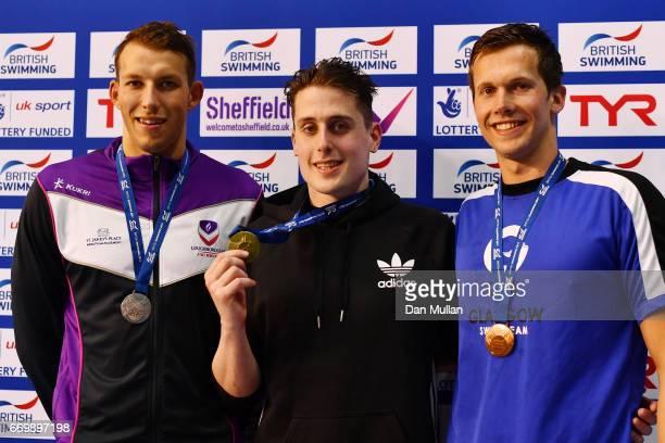 Silver medalist Joe Elwood of Loughboro Uni Gold medalist Chris WalkerHebborn of Bath University and bronze medalist Craig McNally of Co Glasgow pose...