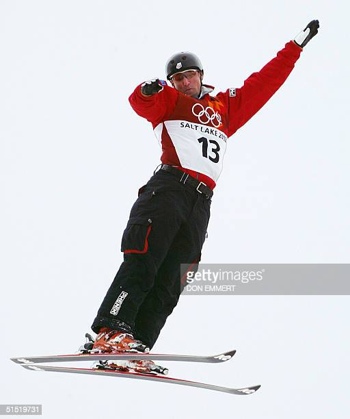 US silver medalist Joe Pack performs his jump during the men's Aerials final for the Winter Olympics 19 February 2002 at Deer Valley Resort AFP...