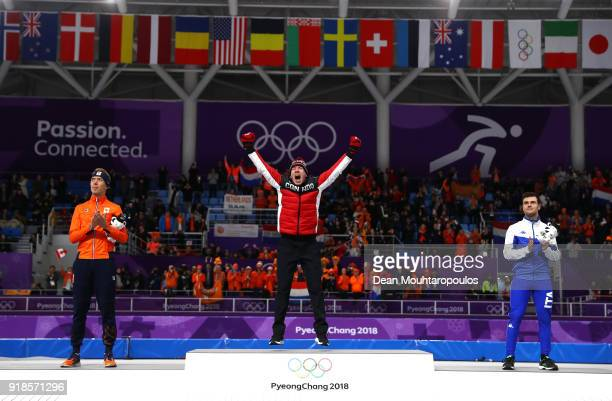 Silver medalist Jorrit Bergsma of the Netherlands gold medalist TedJan Bloemen of Canada and bronze medalist Nicola Tumolero of Italy celebrate...