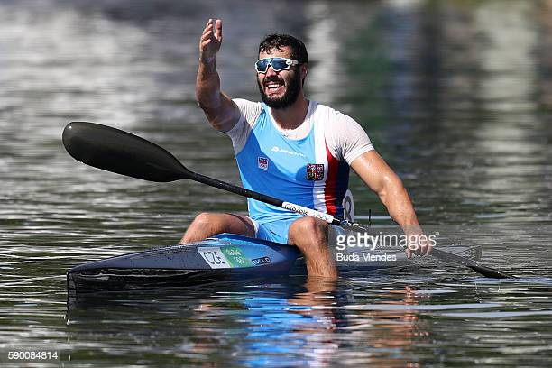 Silver medalist Josef Dostal of the Czech Republic celebrates after the Men's Kayak Single 1000m Final A on Day 11 of the Rio 2016 Olympic Games at...