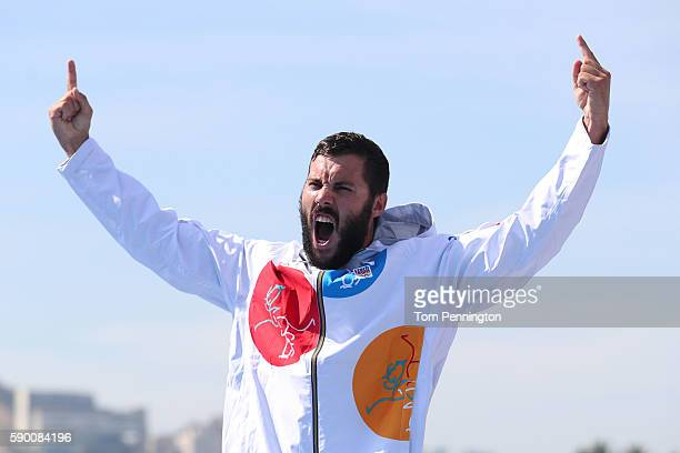Silver medalist Josef Dostal of the Czech Republic celebrates during the medal ceremony during the Men's Kayak Single 1000m Final A on Day 11 of the...
