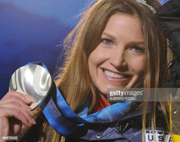 Silver medalist Julia Mancuso of the US attends the medal ceremony for the women's Super Combined held at the Whistler Medals Plaza during the...