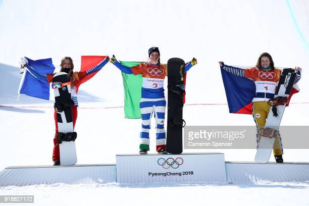 Silver medalist Julia Pereira De Sousa Mabileau of France gold medalist Michela Moioli of Italy and bronze medalist Eva Samkova of the Czech Republic...