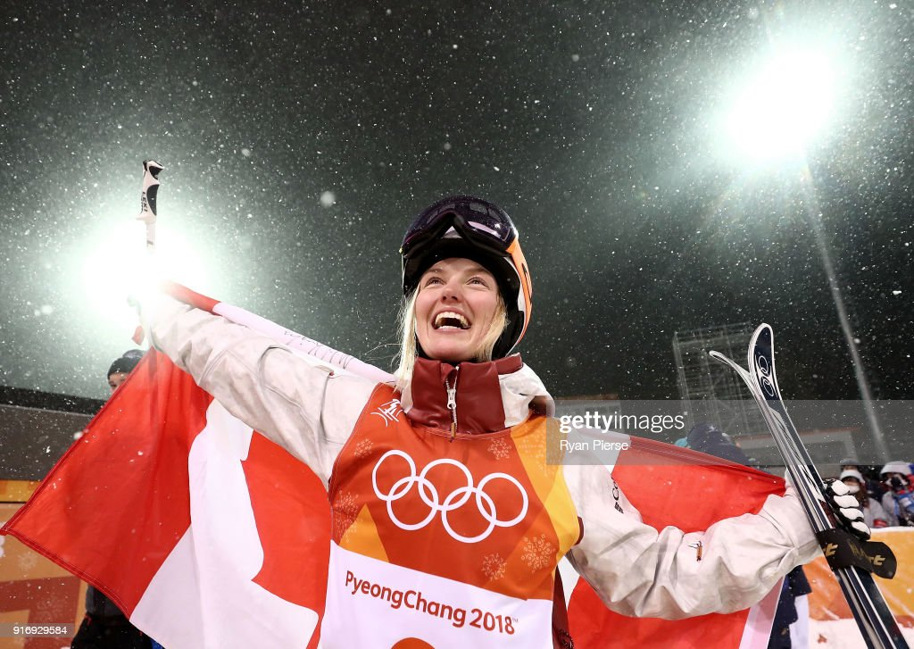 Silver medalist Justine Dufour-Lapointe of Canada celebrates during the victory ceremony for the Freestyle Skiing Ladies' Moguls Final on day two of the PyeongChang 2018 Winter Olympic Games at Phoenix Snow Park on February 11, 2018 in Pyeongchang-gun, South Korea.