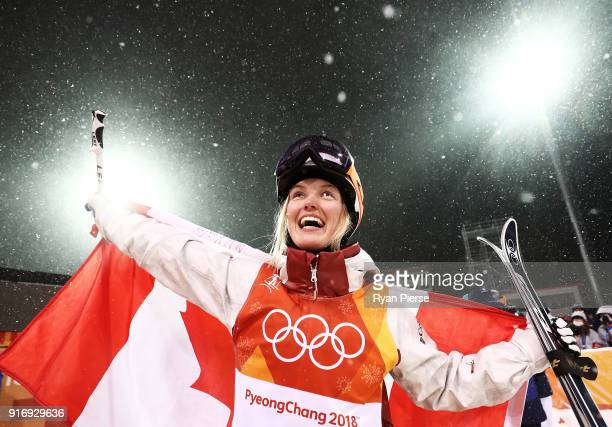 Silver medalist Justine DufourLapointe of Canada celebrates during the victory ceremony for the Freestyle Skiing Ladies' Moguls Final on day two of...