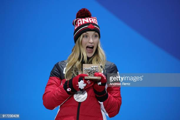 Silver medalist Justine DufourLapointe of Canada poses during the medal ceremony for Freestyle Skiing Ladies' Moguls at Medal Plaza on February 12...