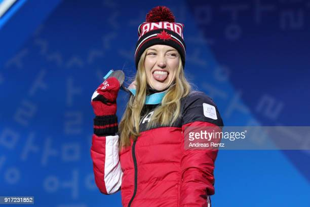 Silver medalist Justine DufourLapointe of Canada reacts during the medal ceremony for Freestyle Skiing Ladies' Moguls at Medal Plaza on February 12...