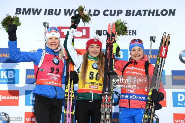 Silver medalist Kaisa Makarainen of Finland gold medalist Dorothea Wierer of Italy and bronze medalist Ekaterina YurlovaPercht of Russia stand on the...