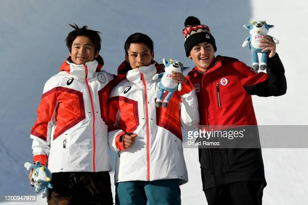 Silver medalist Kaishu Hirano of Japan gold medalist Ruka Hirano of Japan and bronze medalist Liam Brearley of Canada of pose for a photo during the...