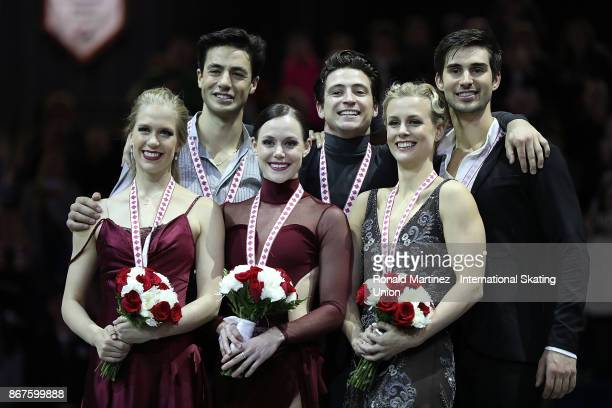 Silver medalist Kaitlyn Weaver and Andrew Poje of Canada gold medalist Tessa Virtue and Scott Moir of Canada and bronze medalist Madison Hubbell and...