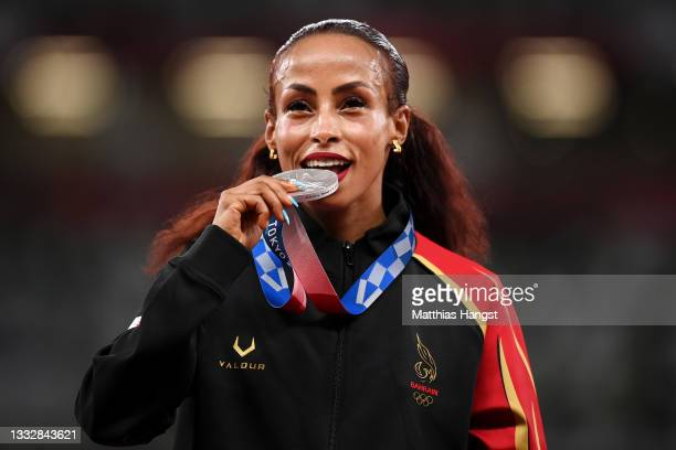 Silver medalist Kalkidan Gezahegne of Team Bahrain stands on the podium during the medal ceremony for the Women's 10,000m on day fifteen of the Tokyo...