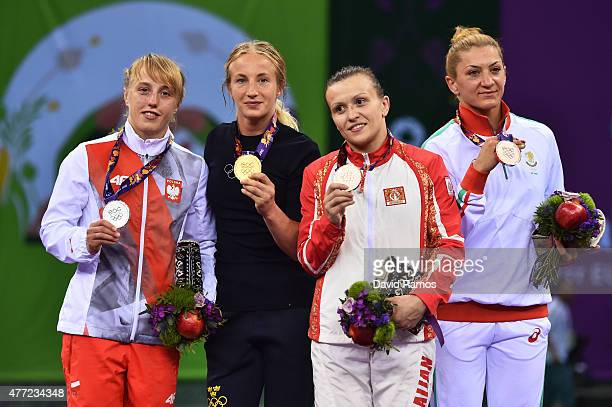 Silver medalist Katarzyan Krawczyk of Poland, gold medalist Sofia Mattsson of Sweden, bronze medalist Natalya Sinishin of Azerbaijan and bronze...