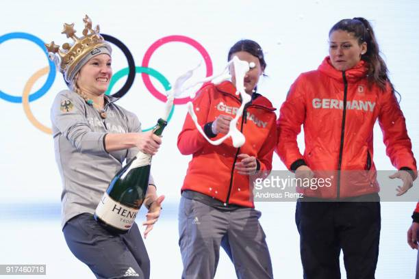 Silver medalist Katharina Althaus of Germany celebrates at the German House reception after the Ladies' Normal Hill Individual Ski Jumping Final on...