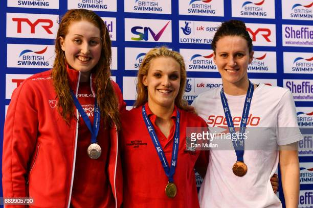 Silver medalist Kathryn Greenslade of Edinburgh Uni gold medalist Eleanor Faulkner of Co Sheffield and bronze medalist Jazmin Carlin of Bath Uni pose...