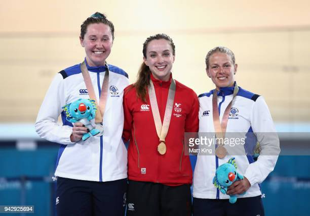 Silver medalist Katie Archibald of Scotland gold medalist Elinor Barker of Wales and bronze medalist Neah Evans of Scotland pose during the medal...