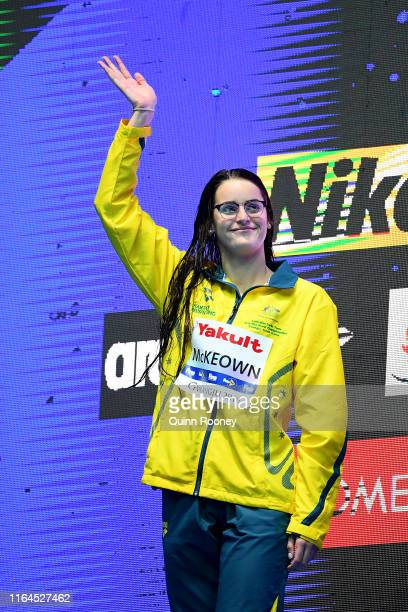 Silver medalist Kaylee McKeown of Australia poses poses during the medal ceremony for the Women's 200m Backstroke Final on day seven of the Gwangju...