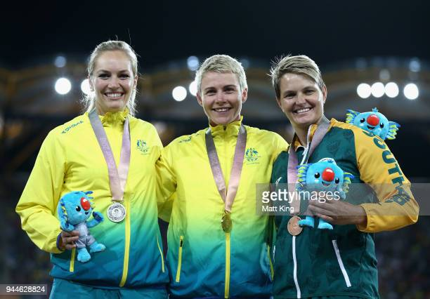 Silver medalist KelseyLee Roberts of Australia gold medalist Kathryn Mitchell of Australia and bronze medalist Sunette Viljoen of South Africa pose...
