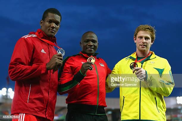 Silver medalist Keshorn Walcott of Trinidad and Tobago, gold medalist Julius Kiplangat Yego of Kenya and bronze medalist Hamish Peacock of Australia...