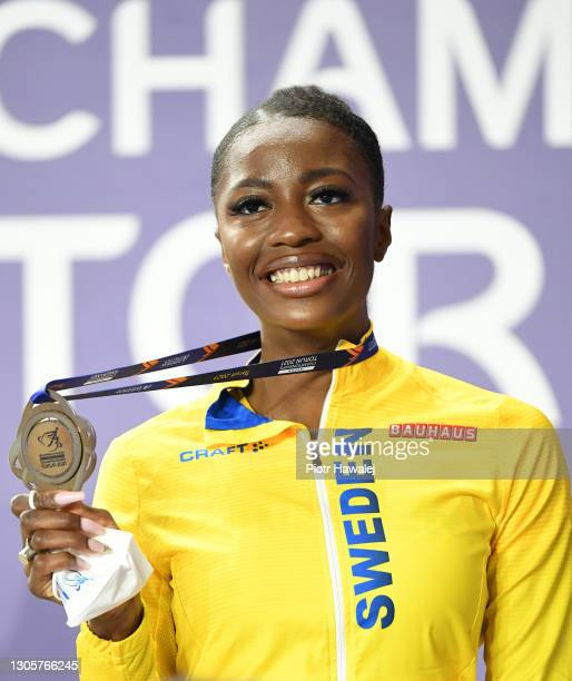 Silver medalist Khaddi Sagnia of Sweden poses for a photo during the medal ceremony for Women's Long Jump during the first session on Day 3 of the...
