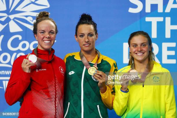Silver medalist Kierra Smith of Canada gold medalist Tatjana Schoenmaker of South Africa and bronze medalist Georgia Bohl of Australia pose during...