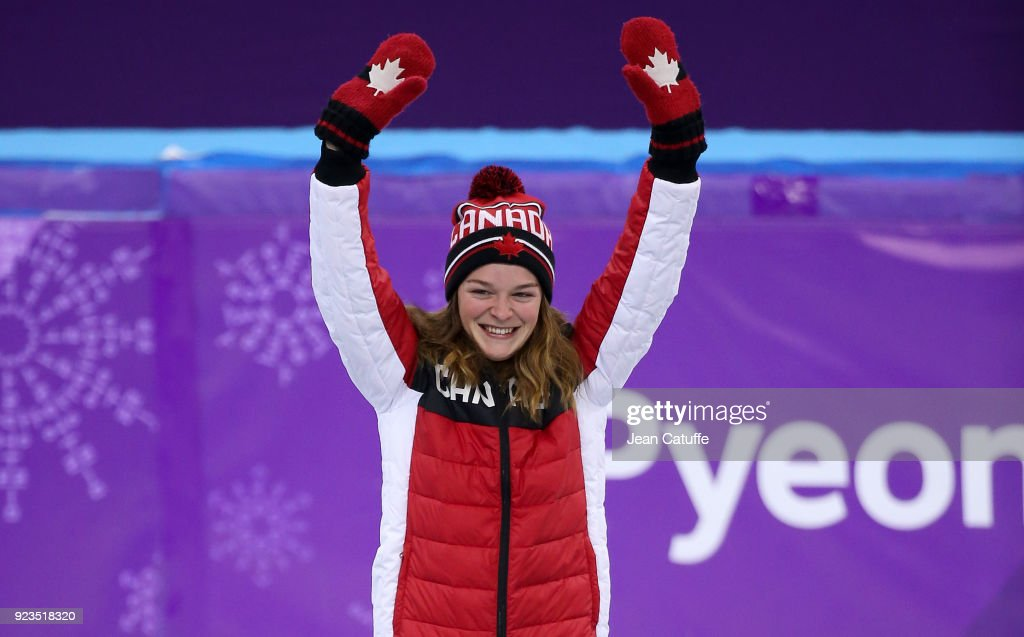 Silver medalist Kim Boutin of Canada celebrates during ceremony following the Short Track Speed Skating Women's 1000m Final A on day thirteen of the PyeongChang 2018 Winter Olympic Games at Gangneung Ice Arena on February 22, 2018 in Gangneung, South Korea.
