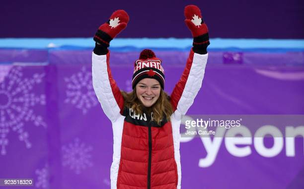 Silver medalist Kim Boutin of Canada celebrates during ceremony following the Short Track Speed Skating Women's 1000m Final A on day thirteen of the...