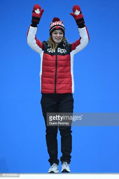 Silver medalist Kim Boutin of Canada celebrates during the medal ceremony for Short Track Speed Skating Ladies' 1000m on day 14 of the PyeongChang...