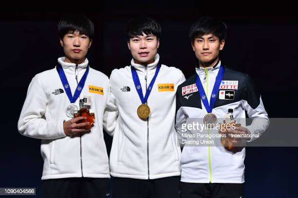 Silver medalist Kim Tae Sung of Korea gold medalist Jung Ho Kyoung of Korea and bronze Kazuki Yoshinaga of Japan stand together on the podium after...